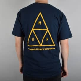 HUF Triple Triangle Skate T-Shirt - Navy/Gold