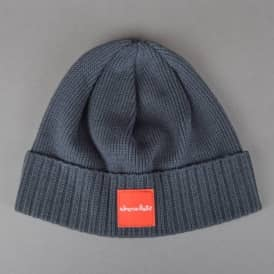 Red Square Fold Beanie - Charcoal