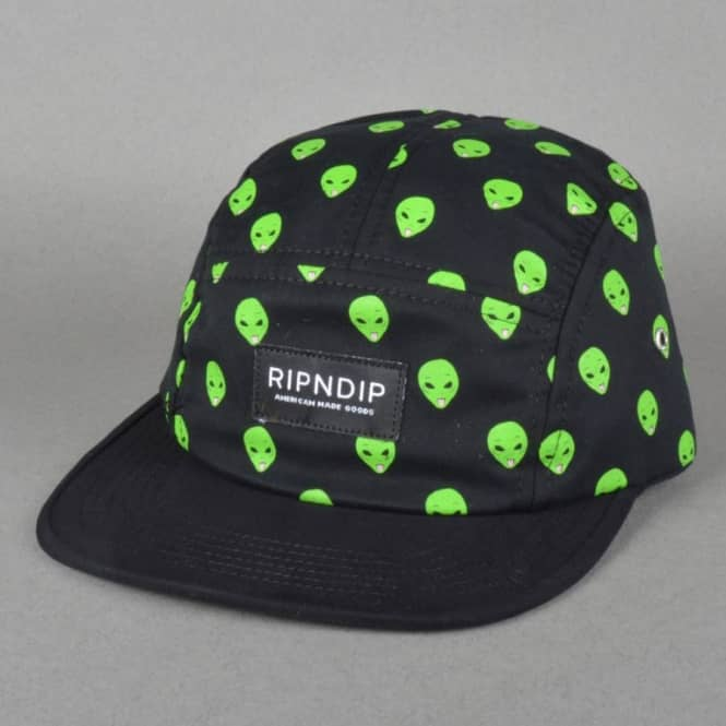 007bc4181a3 Rip N Dip Alien Camp 5 Panel Cap - Black - Caps from Native Skate ...
