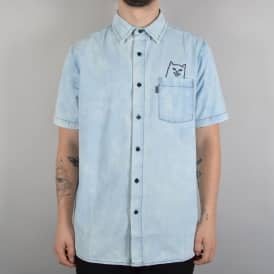Rip N Dip Lord Nermal Button Up Denim Shirt - Blue