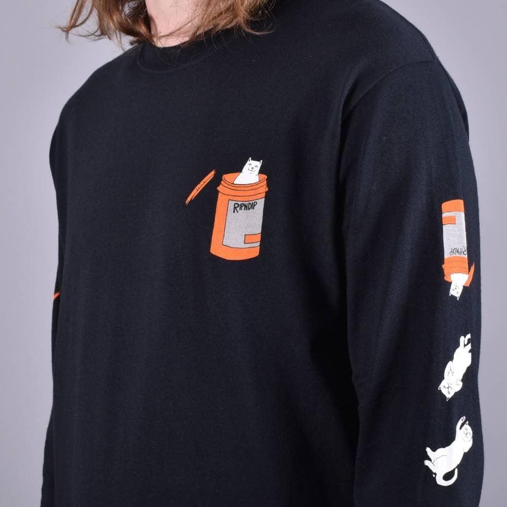 07dea7061deb Rip N Dip Nermal Pills Longsleeve T-Shirt - Black - SKATE CLOTHING ...