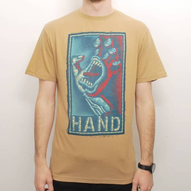 Santa Cruz Skateboards Santa Cruz Handstitched Skate T-Shirt - Tan