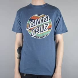 Santa Cruz Skateboards Chevron Dot Skate T-Shirt - Denim Heather