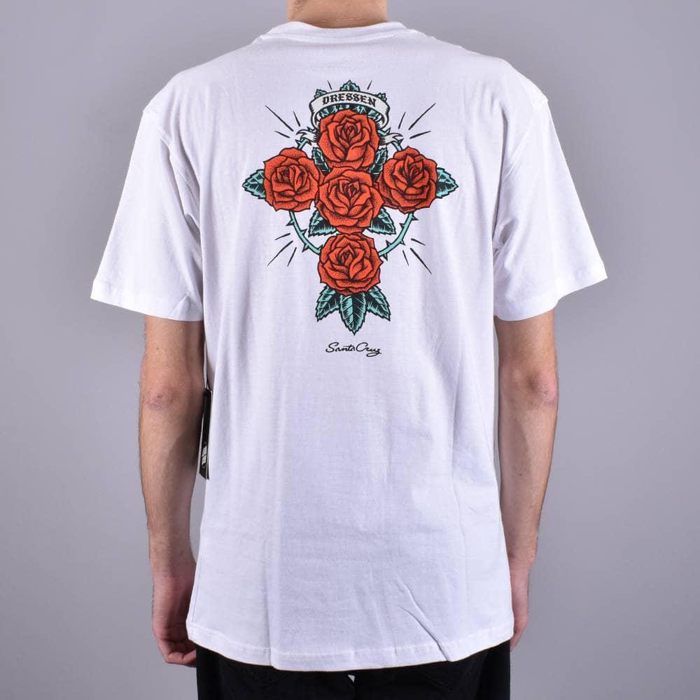 5a4da4d939 Santa Cruz Skateboards Santa Cruz Skateboards Dressen Rose Cross T-Shirt -  White