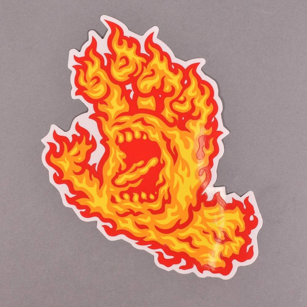 Santa Cruz Skateboards Flame Hand Skateboard Sticker 6 X 4
