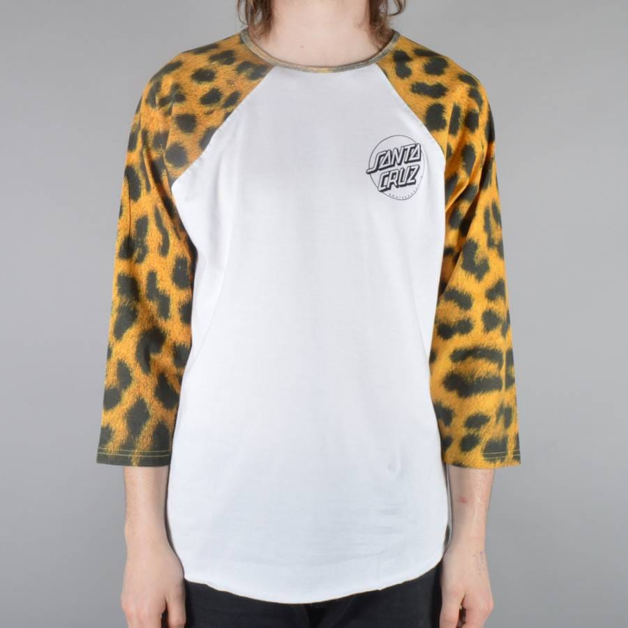 Santa cruz skateboards leopardskin baseball custom raglan for Custom raglan baseball shirt
