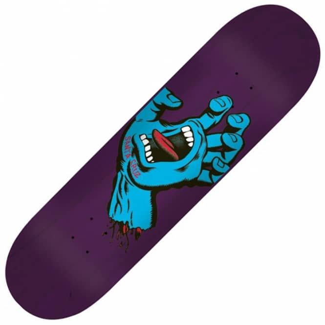 Santa Cruz Skateboards Minimal Hand Eight Three Purple Stain Skateboard Deck 8.375