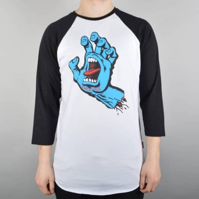 Screaming Hand 3/4 Sleeve Baseball T-Shirt - Black/White
