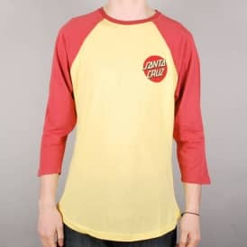 Santa Cruz Skateboards Santa Cruz Classic Dot 3/4 Sleeve Baseball T-Shirt - Mineral/Custard