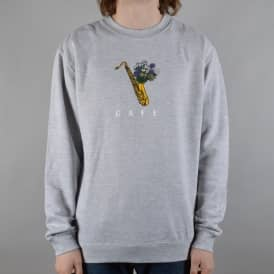 Sax Flowers Crewneck Sweater - Grey