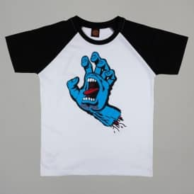 Santa Cruz Skateboards Screaming Hand Youth Raglan T-Shirt - White/Black