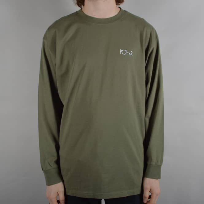 Polar Skateboards Script Embroidered Longsleeve T-Shirt - Dusty Olive