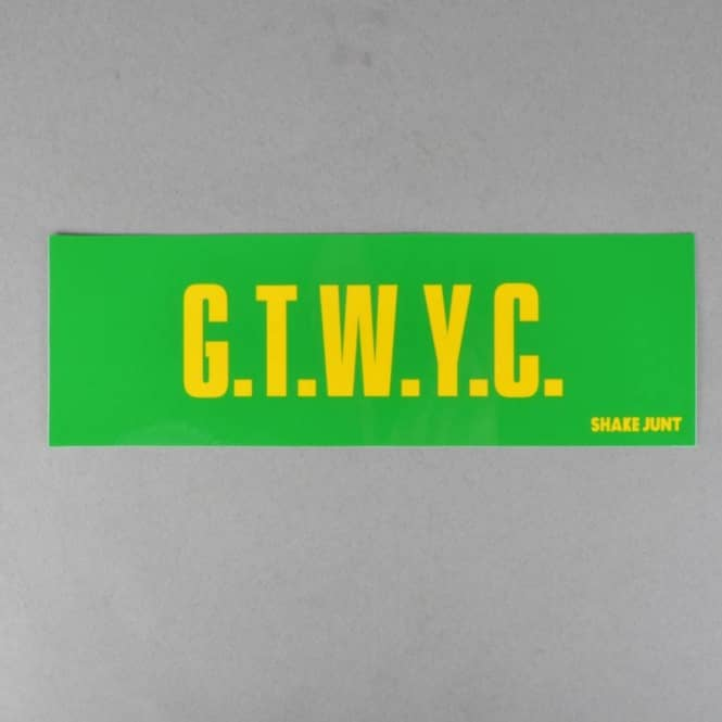 Shake Junt G.T.W.Y.C. Skateboard Sticker Large - Green