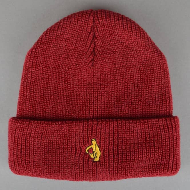 Krooked Skateboards Shmolo Embroidered Cuff Beanie - Burgundy