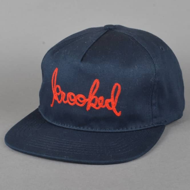 Krooked Skateboards Signature Embroidered Strapback Cap - Navy