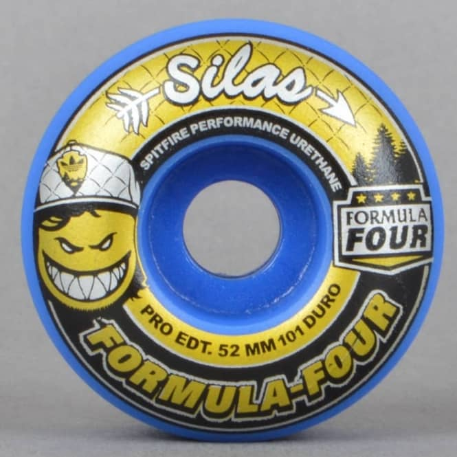 Spitfire Wheels Silas x Adidas LTD 101D Classic Blue Formula Four Skateboard Wheels 52mm