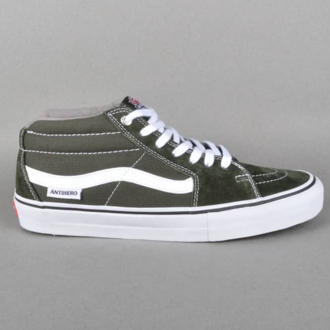 e843d4118e3 Vans Sk8 Mid Pro Skate Shoes - Anti Hero Green Grosso