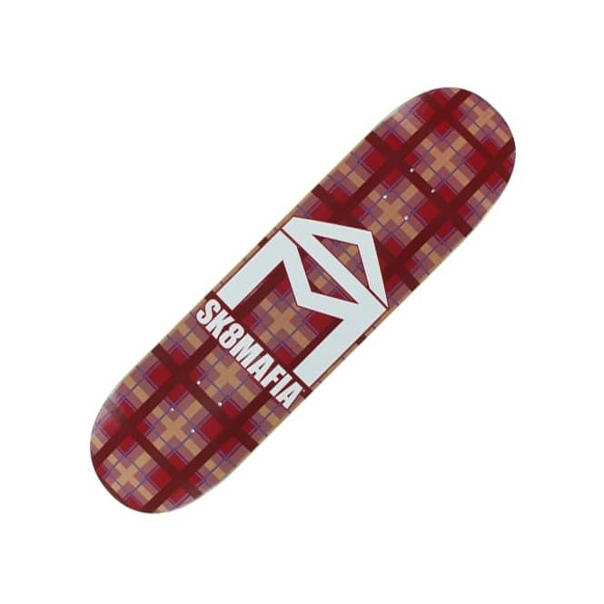 Sk8mafia Sk8mafia House Logo Plaid Red Skateboard Deck 8.0''