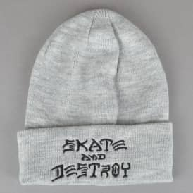 Skate And Destroy Embroidered Beanie - Grey