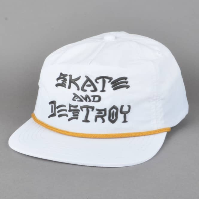 Thrasher Skate And Destroy Puff Ink Snapback Cap - White