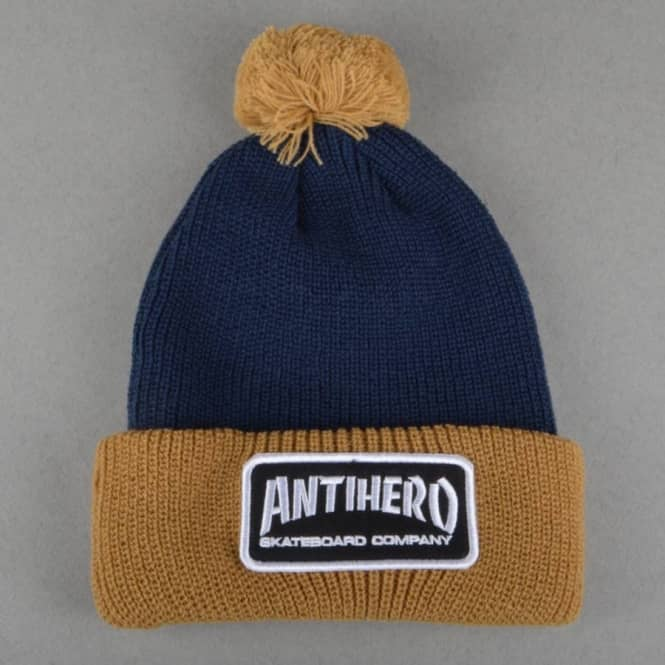 Antihero Skateboards Skate Co. Patch Pom Beanie - Tan Navy - SKATE ... b7626316f78