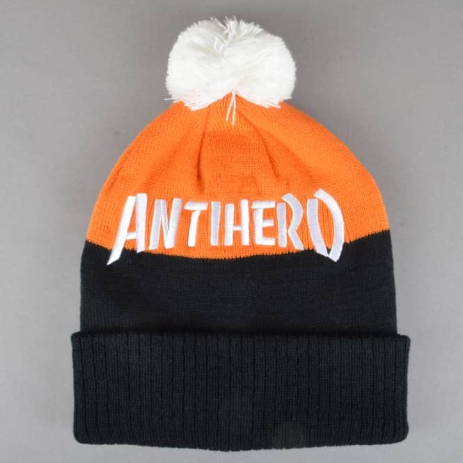 Antihero Skateboards Skate Co. Pom Pom Beanie - Black/Orange