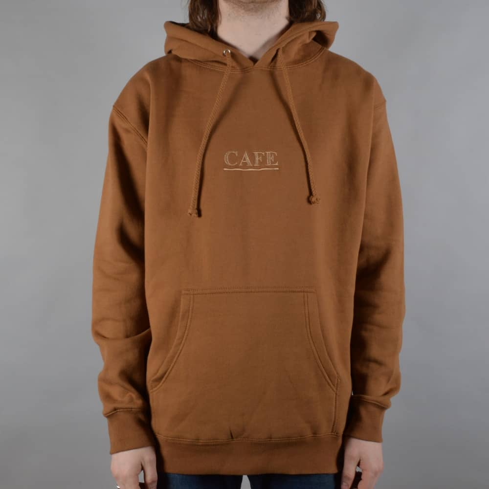 8920f7b886c Skateboard Cafe Latte Embroidered Pullover Hoodie - Saddle Brown ...