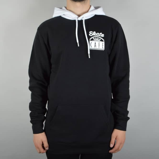 Skateboard Cafe Split Pullover Hoodie - Black/White
