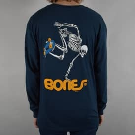 Skateboard Skeleton Longsleeve T-Shirt - Navy