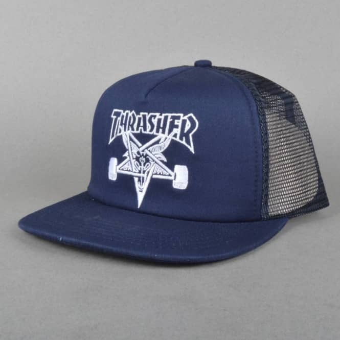 6f853a63d0d Thrasher Skategoat Embroidered Mesh Cap - Navy White - SKATE ...
