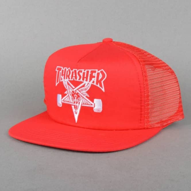 a004cb20c71 Thrasher Skategoat Embroidered Mesh Cap - Red White - SKATE CLOTHING ...