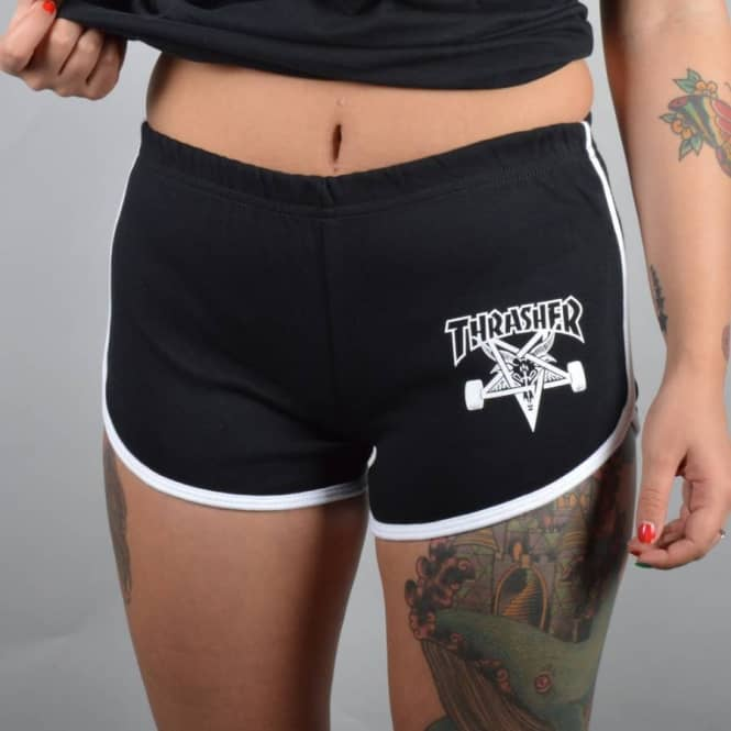 Thrasher Skategoat Girls Night Shorts - Black/White
