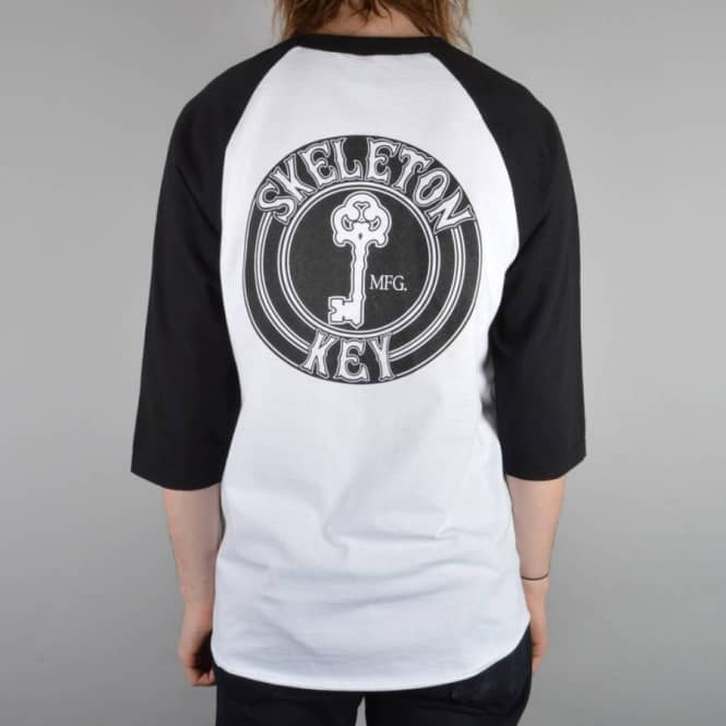 Skeleton Key MFG Black Dot 3/4 Sleeve Raglan T-Shirt - White/Black