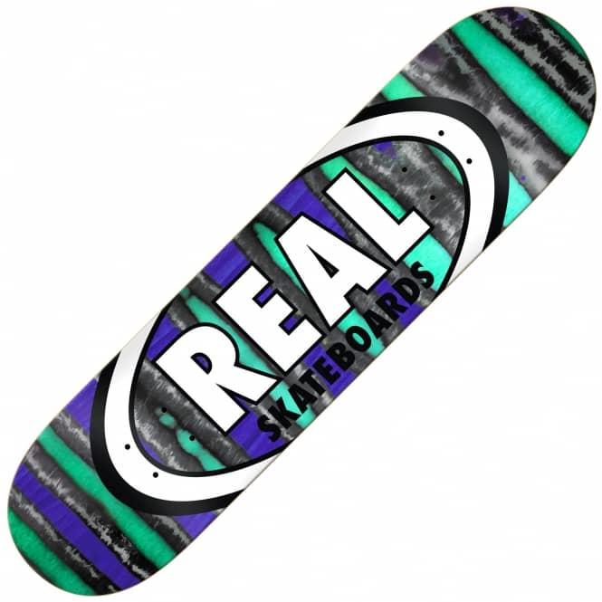 Real Skateboards Spectrum Oval Black/Blues (Full Shape) Skateboard Deck 8.25