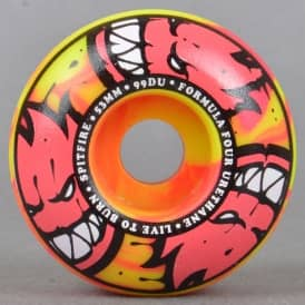 Afterburners Pink/Yellow Classic 99D Formula Four Skateboard Wheels 53mm