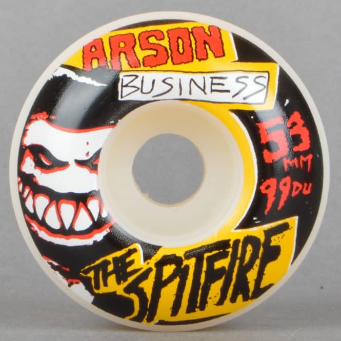 Spitfire Wheels Arson Business White Skateboard Wheels 53mm