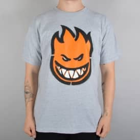 Spitfire Wheels Commando Skate T-Shirt - Athletic Grey/Orange