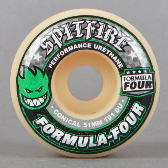 Spitfire Wheels Green Print Conical 101D Formula Four Skateboard Wheels 51mm