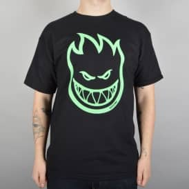 Spitfire Wheels Lit Bighead Glow In The Dark Skate T-Shirt - Black