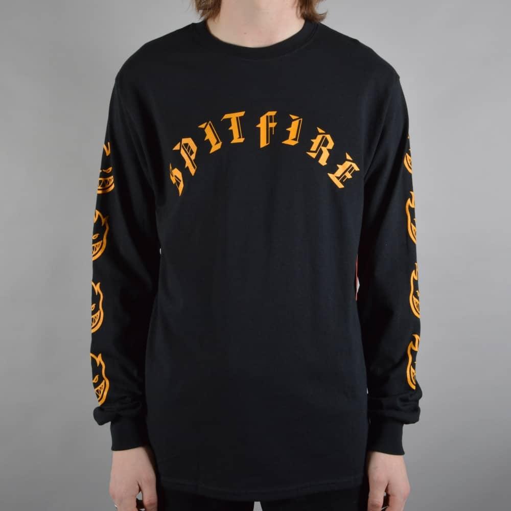 df38cb981a Spitfire Wheels Old E Longsleeve T-Shirt - Black Yellow - SKATE ...