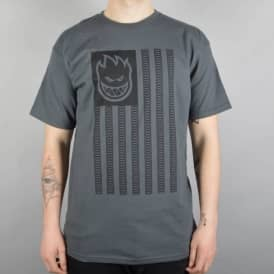 Spitfire Wheels Patriot Skate T-Shirt - Charcoal/Black