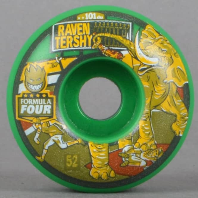 Spitfire Wheels Raven Stompers 101D Classic Formula Four Green Skateboard Wheels 52mm