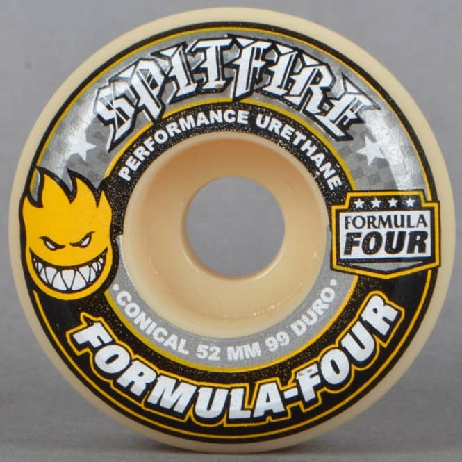 Spitfire Wheels Yellow Print Conical 99D Formula Four Skateboard Wheels 52mm