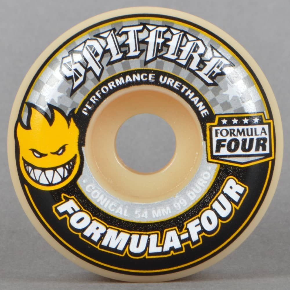 Spitfire Formula Four White//Yellow Conical 99D Skateboard Wheels Set of 4