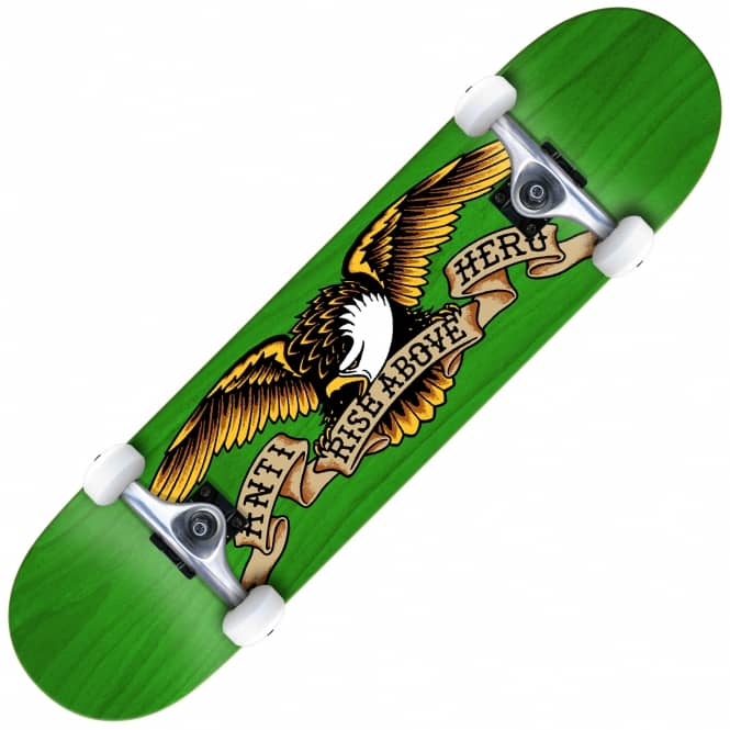 Antihero Skateboards Stained Eagle Large (Green) Complete Skateboard 8.0