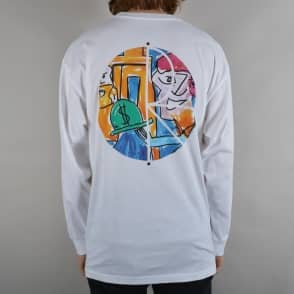 Polar Skateboards Stenstrom Fill Logo Longsleeve T-Shirt - White