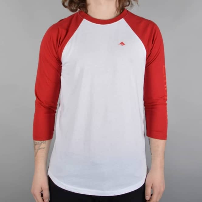 Emerica Stimulous Raglan 3/4 Sleeve T-Shirt - White/Red