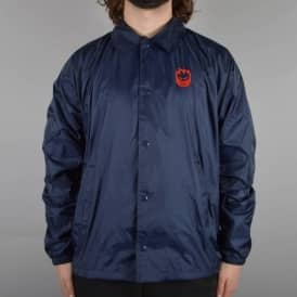 Stock Bighead Embroidered Coach Jacket - Navy/Red