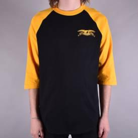 Stock Eagle 3/4 Sleeve Raglan Tee - Black/Gold