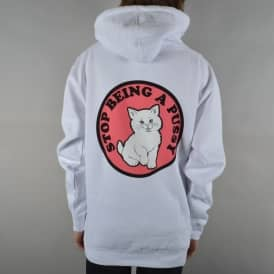 Stop Being A Pussy Pullover Hoodie - White